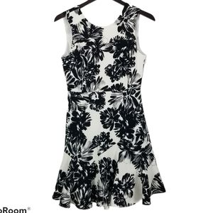 Rebecca Taylor black and white floral flippy dress